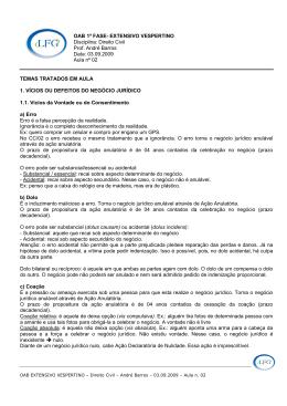 OAB 1ª FASE- EXTENSIVO VESPERTINO Disciplina: Direito Civil