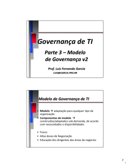 Governança de TI – Modelo - Prof. Dr. Luis Fernando Garcia