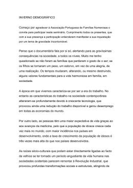 INVERNO DEMOGRFICO - Associação Portuguesa de Famílias