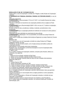 RESOLUÇÃO Nº 289, DE 15 DE MAIO DE 2012 Dispõe