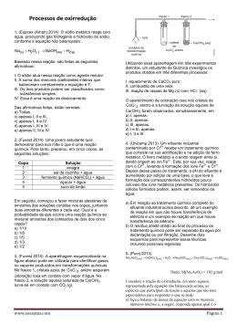 ExerciciosProcessos de oxirredução