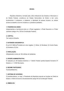 BRASIL República federativa, formada pela união indissolúvel dos