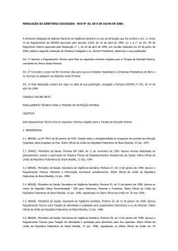 RESOLUÇÃO DA DIRETORIA COLEGIADA - RCD N° 63