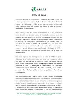 CARTA AO CRIAD - CRESS 17ª Região/ES