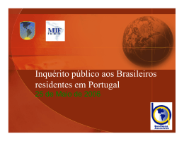 Public Opinion Survey of Brazilians living in Portugal