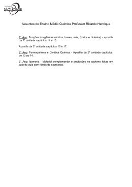 Assuntos do Ensino Médio Química Professor Ricardo Henrique