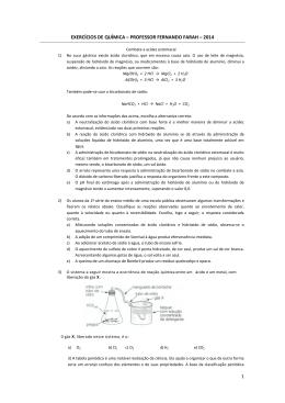 1 EXERCÍCIOS DE QUÍMICA – PROFESSOR FERNANDO FARAH