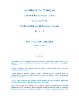 A UNIDADE DA TRADIÇÃO (Líber URAN vel Achad