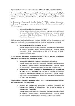Organização de informações no Portal da Anvisa