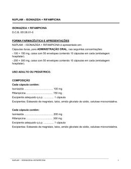 NUPLAM – ISONIAZIDA + RIFAMPICINA ISONIAZIDA +