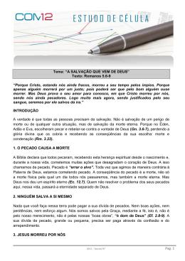 """Pag. 1 Tema: """"A SALVAÇÃO QUE VEM DE DEUS"""" Texto: Romanos"""