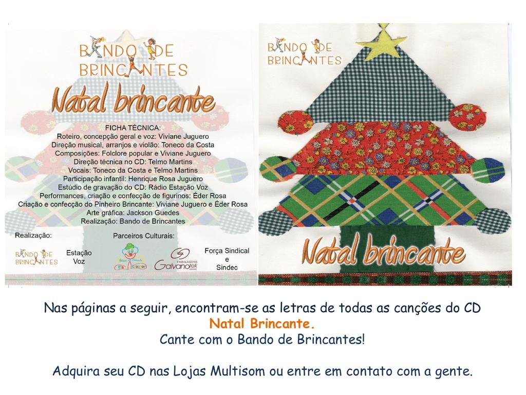 Letras das músicas do CD Natal Brincante