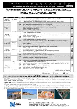 roteiro detalhado - Service Global Turismo