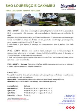 SÃO LOURENÇO E CAXAMBÚ - 14 a 16.02
