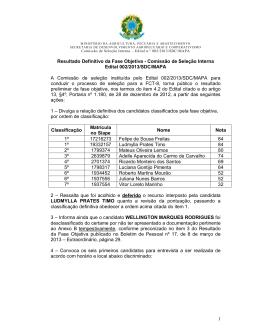 Comissão de Seleção Interna Edital 002/2013/SDC/MAPA A