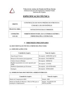 especificação técnica - licit - Tribunal de Justiça de Minas Gerais