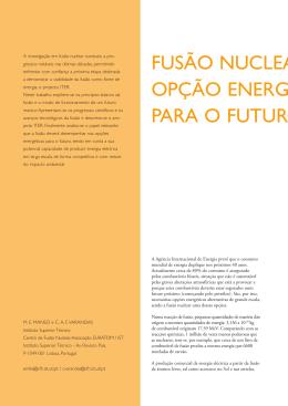 Fusão Nuclear: uma opção energética para o futuro