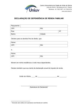 DECLARAÇÃO DE DEPENDÊNCIA DE RENDA FAMILIAR