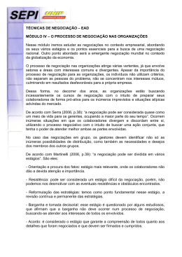 TÉCNICAS DE NEGOCIAÇÃO – EAD MÓDULO IV – O PROCESSO