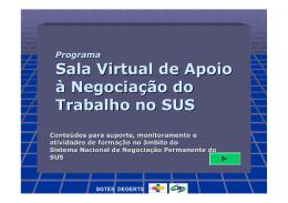 Sala Virtual de Apoio à Negociação SUS