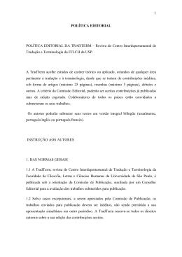 POLÍTICA EDITORIAL POLÍTICA EDITORIAL DA TRADTERM