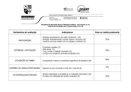 Parâmetros de avaliação Indicadores Peso na média ponderada