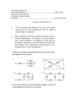 3 - Calcule a resistência equivalente entre os pontos A e B das
