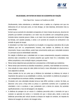 VELOCIDADE, UM FATOR DE RISCO DE ACIDENTES DE