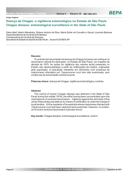 Doença de Chagas: a vigilância entomológica no Estado de São