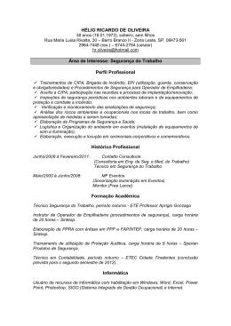 HÉLIO RICARDO DE OLIVEIRA Área de Interesse: Segurança do