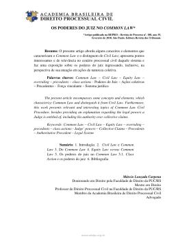 os poderes do juiz no common law - Academia Brasileira de Direito