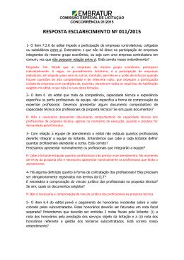 RESPOSTA ESCLARECIMENTO Nº 011/2015