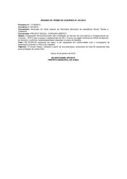 RESUMO DO TERMO DE CONVÊNIO Nº. 001/2015 Processo nº
