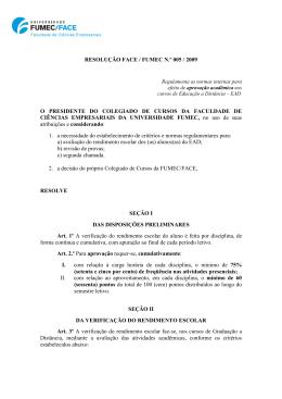 resolução face / fumec n.º 005 / 2009 o presidente do colegiado de