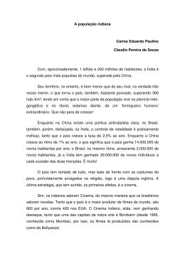 A população indiana Carlos Eduardo Paulino Claudio