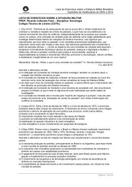 Lista de Exercícios sobre a Ditadura Militar