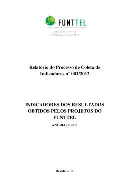 Relatório do Processo de Coleta de Indicadores n° 001/2012
