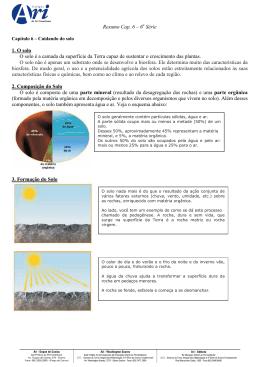 Resumo Cap. 6 – 6 Série 1. O solo O solo é a camada da superfície