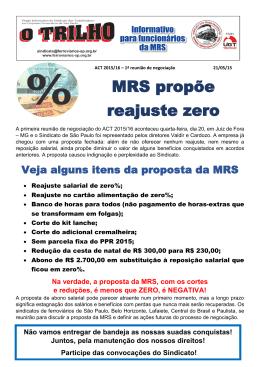 MRS- 1ª reunião de negociação Proposta da empresa