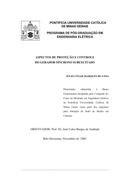 ASPECTOS DE PROTEÇÃO E CONTROLE DO GERADOR