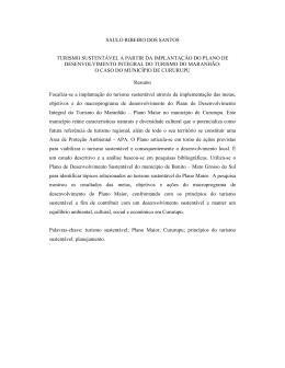 SAULO RIBEIRO DOS SANTOS TURISMO SUSTENTÁVEL A