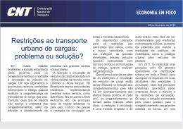 Restrições ao transporte urbano de cargas