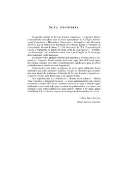 nota editorial - Centro de Linguística da Universidade Nova de Lisboa