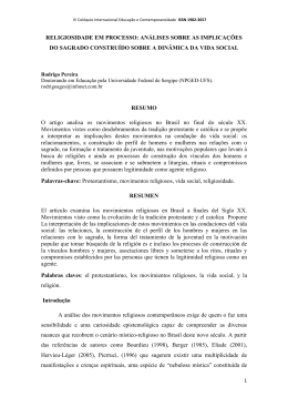 Religiosidade em processo Rodrigo Pereira. Eixo 07
