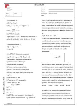Lista de Logaritmos - Professor Walter Tadeu