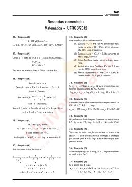 Prova de Matemática - UFRGS 2012