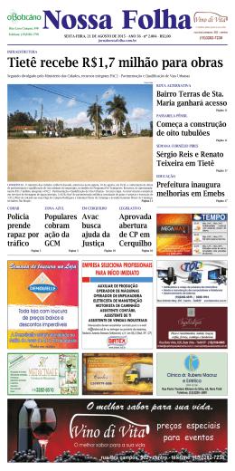 Edição 21/08/2015 - Jornal Nossa Folha