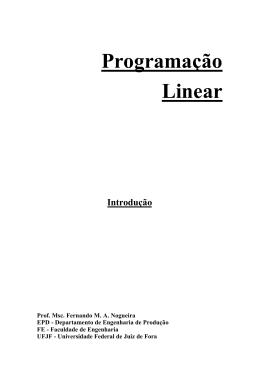 Programação Linear (Introdução)