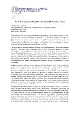 """Conclusões da Conferência """"A(s) problemática(s) da Natalidade"""