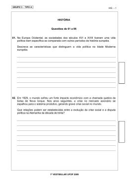 HISTÓRIA Questões de 01 a 06 01. Na Europa Ocidental, as